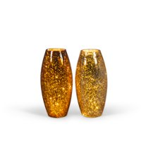 Gerson 8.5-Inch Tall Lighted Mercury Crackle Glass Vases (Set of 2)
