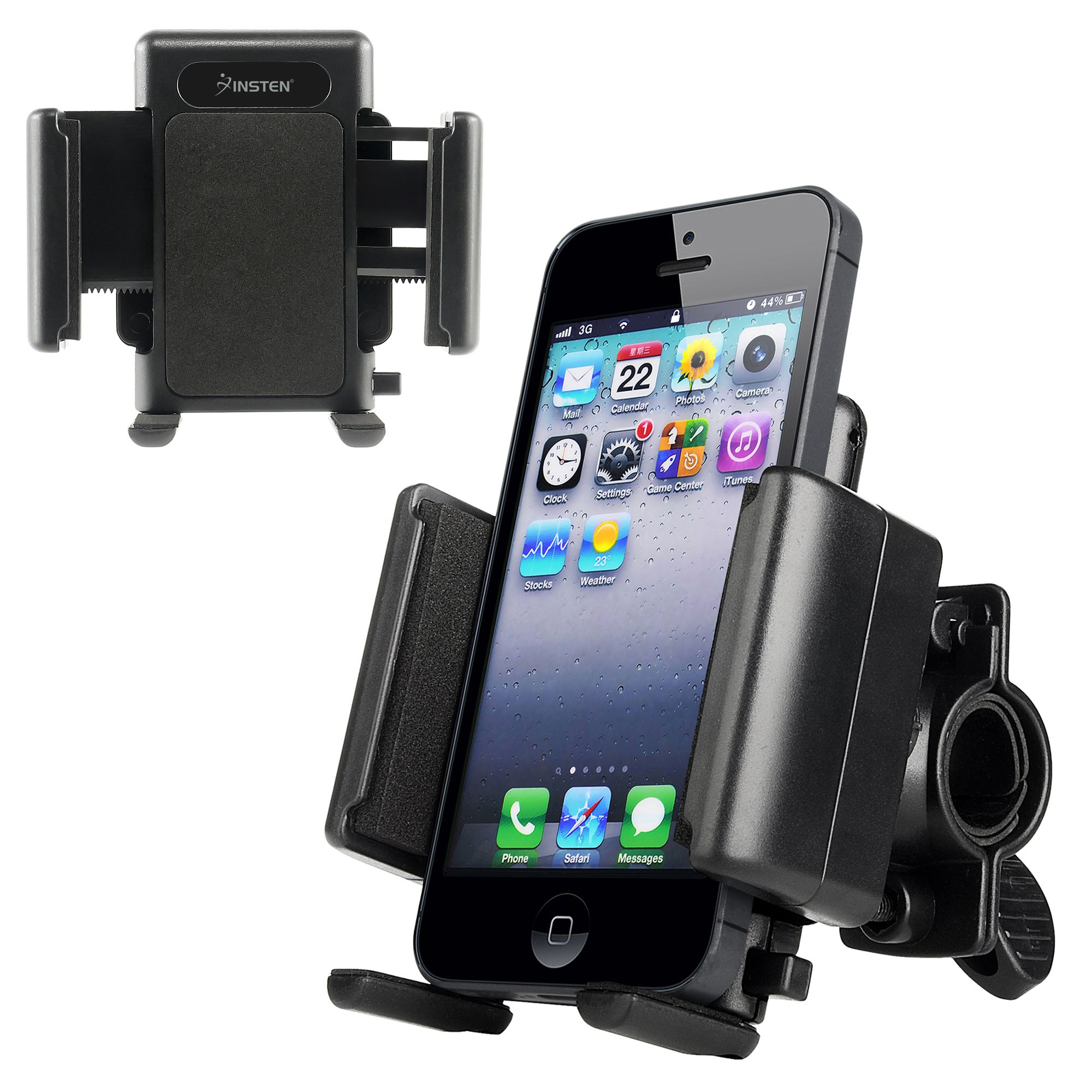 Insten Bike Bicycle Phone Holder Handlebar Bracket Mount for Smartphone iPhone XS X 8 7 6 Plus 6S SE/ Samsung Galaxy S9 S8 Note 8/ Moto E4 G5 G4 Z Play Droid E G X/ LG K20 Stylo 3 Adjustable Universal
