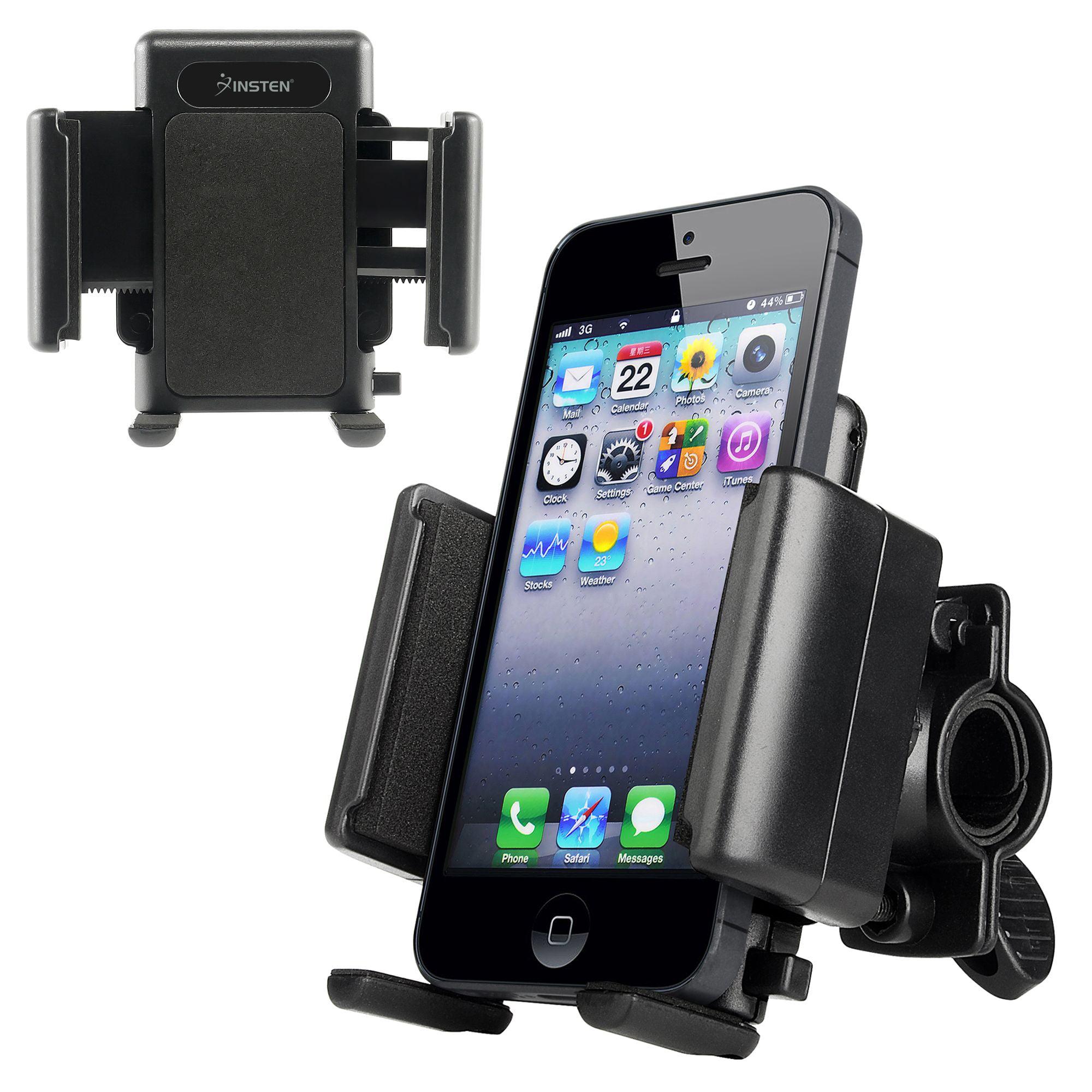 Insten Bike Bicycle Phone Holder Handlebar Bracket Mount for Smartphone iPhone XS X 8 7 6 Plus 6S SE/ Samsung Galaxy S9 S8 Note 8/ Moto E4 G5 G4 Z Play Droid E G X/ LG K20 Stylo 3 Adjustable Universal