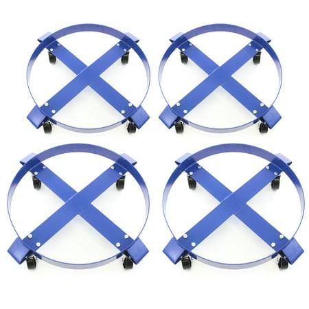 4 Drum Dollies 1000 lb 30 Gal w Swivel Casters Heavy Duty Steel Frame Non Tip