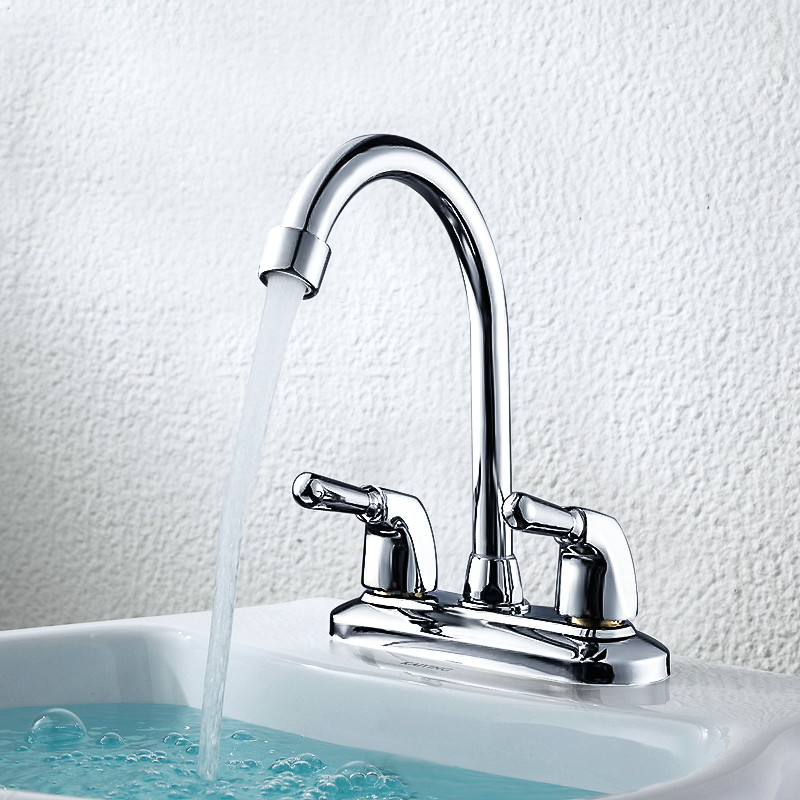 Modern Double Basin Sink Hot and Cold Water Faucetfaucet Single Hole Deck Mount Water Mixer Commercial Bathroom Sink Taps Janitorial & Sanitation Supplies