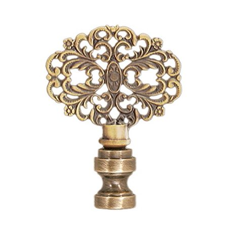 B&P Lamp Brass Finial, Antique Finish, Tap (Shaped Antique Brass Lamp Finial)