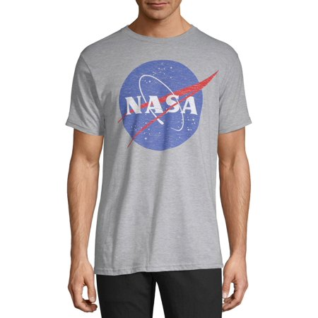 NASA Men's and Big Men's Distressed Logo Short Sleeve Graphic T-Shirt Logos Sleeve Tee T-shirt