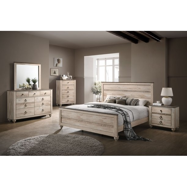 Roundhill Imerland Contemporary White Wash Finish Bedroom Set, Queen Bed, Dresser, Mirror, Nightstand, Chest