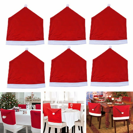 6 Pack 20''x24'' Dining Chair Back Cover Kitchen Dinner Room Table Christmas Eve - Christmas Table