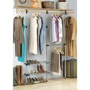 "Whitmor 2 Shelf - 2 Rod Closet System - Adjustable Closet Maximizer - Silver & Black - 10"" x 50.45"" x 61"""