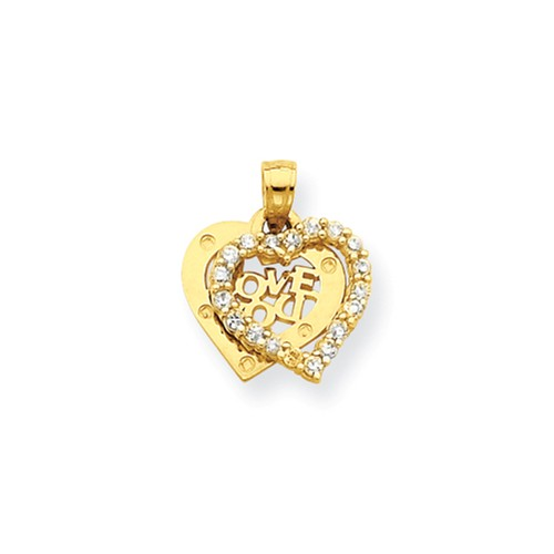 10k Yellow Gold Small CZ I Love You Heart Charm (0.7in)
