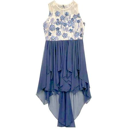 Rare Editions Big Girls Deep Blue High Low Chiffon Dress 12](Girls Dresses 12)