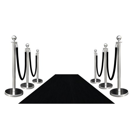 6 Mirror Crown Rope Stanchions + 4 Black Velour Ropes + 1 pc of 3' x 10' Black Carpet