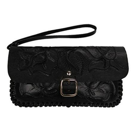 4ca4b4d66100 Women's Leather Clutch Purse Wristlet Hand Tooled Black