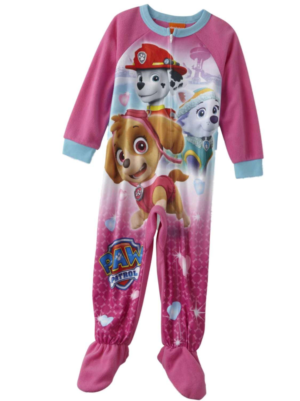 Nickelodeon Toddler Girls Pink Paw Patrol Sleeper Footie Pajamas PJs