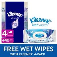 Buy ONE Kleenex Ultra Soft Facial Tissues (4 Pack), Get a FREE Pack of Kleenex Gentle Clean Wet Wipes (Total 56 Wipes)!