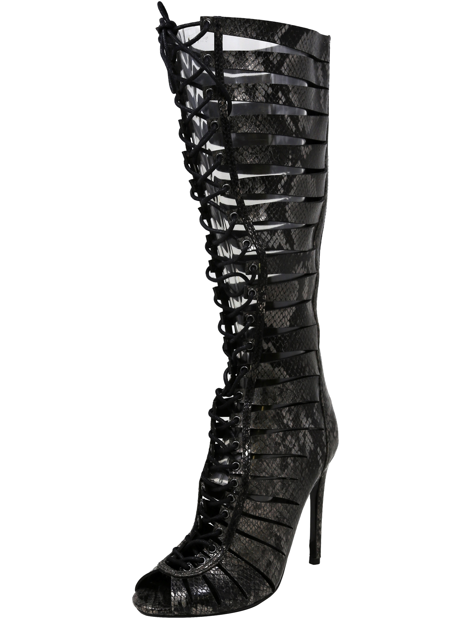 5fbdd3d8bf2 Steve Madden Women s Cryptic Black Snake Mid-Calf Leather Pump - 7.5M