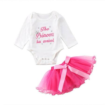 d1fc96bddb06 Faithtur - Baby Girls Princess Costume Dress Cotton Romper Playsuit and Pink  Bow Ruffle Tutu Skirt Outfit Set - Walmart.com