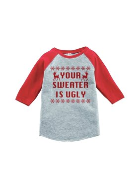 fb4579bc936 Product Image Custom Party Shop Youth Your Sweater Is Ugly Christmas Raglan  Shirt Red - XL (18