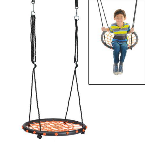60cm/24inch Diameter Children Web Swing Platform Net Swing Nylon Rope with EVA Padded Steel