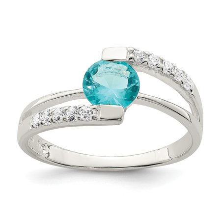 Accent Ring Jewelry (Roy Rose Jewelry Sterling Silver Blue CZ with CZ Accents Ring)