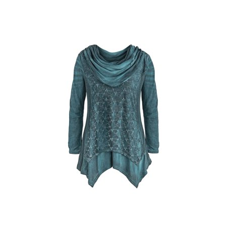 Feet Long Catalog (Catalog Classics Women's Lace Embroidered Teal Tunic Top - Cowlneck Long Sleeves )