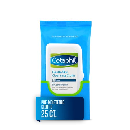 Cetaphil Gentle Skin Cleansing Cloths, Face Wipes For Dry / Sensitive Skin, 25