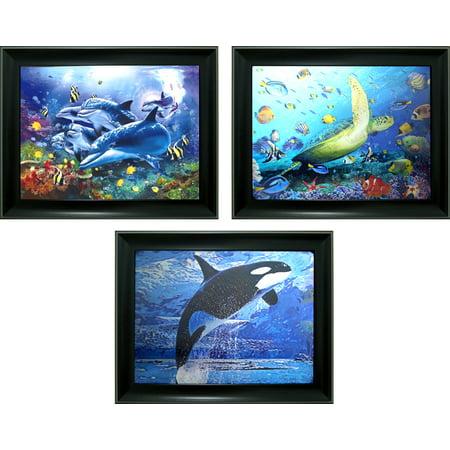Dolphin, turtle & Fish triple Image 3d lent