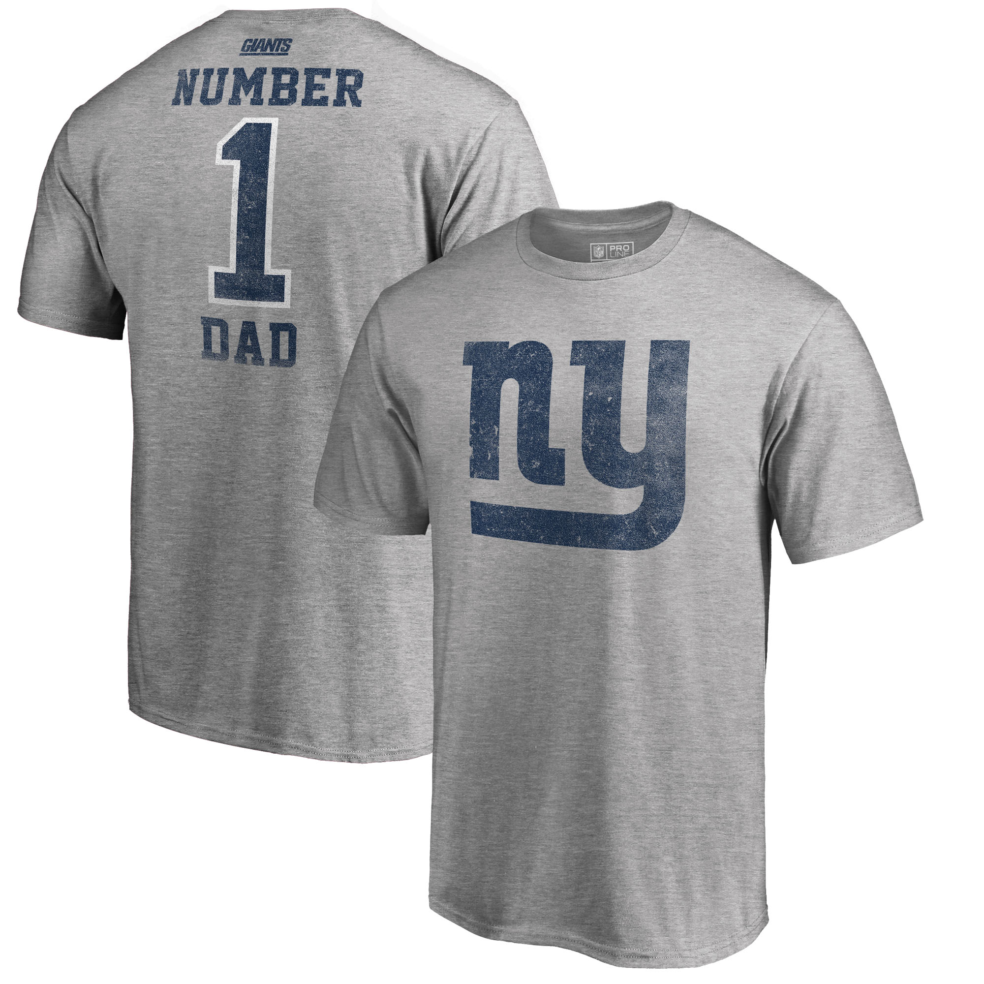 New York Giants NFL Pro Line by Fanatics Branded Big and Tall Greatest Dad Retro Tri-Blend T-Shirt - Heathered Gray