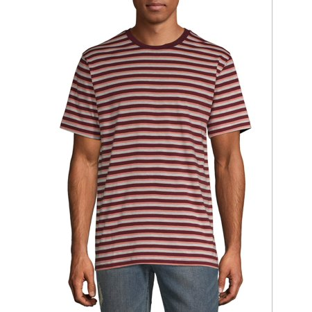 George Big Men's Striped Short Sleeve Crewneck (Black Shirt With White Stripes On Sleeves)