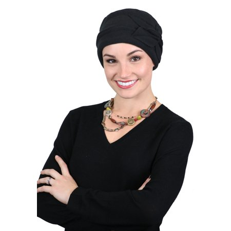 Women's Hat Fleece Beanie Cloche Cancer Headwear Chemo Ladies Winter Head Coverings Butterfly (Black) (Red Sequin Top Hat)