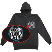 Close Your Eyes Men's  Empty Hands And Heavy Hearts Zippered Hooded Sweatshirt Black