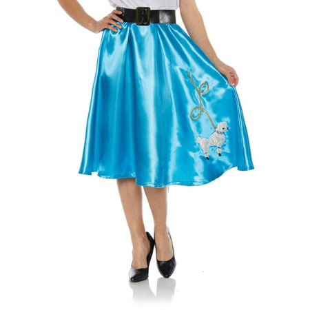 Turquoise Satin Womens Adult Costume 50S Sock Hop Poodle Skirt (50s Poodle Skirts Costumes)