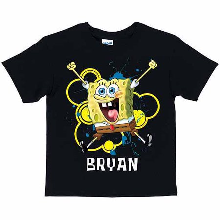 Personalized SpongeBob SquarePants Excited Boys' Black T-Shirt](Personalized Spongebob Birthday Shirts)