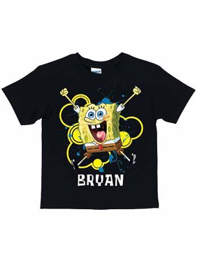 Personalized SpongeBob SquarePants Excited Boys' Black T-Shirt