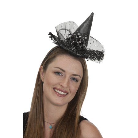 Mini Witch Hat On Headband Rhinestones And Silver Finish 27261