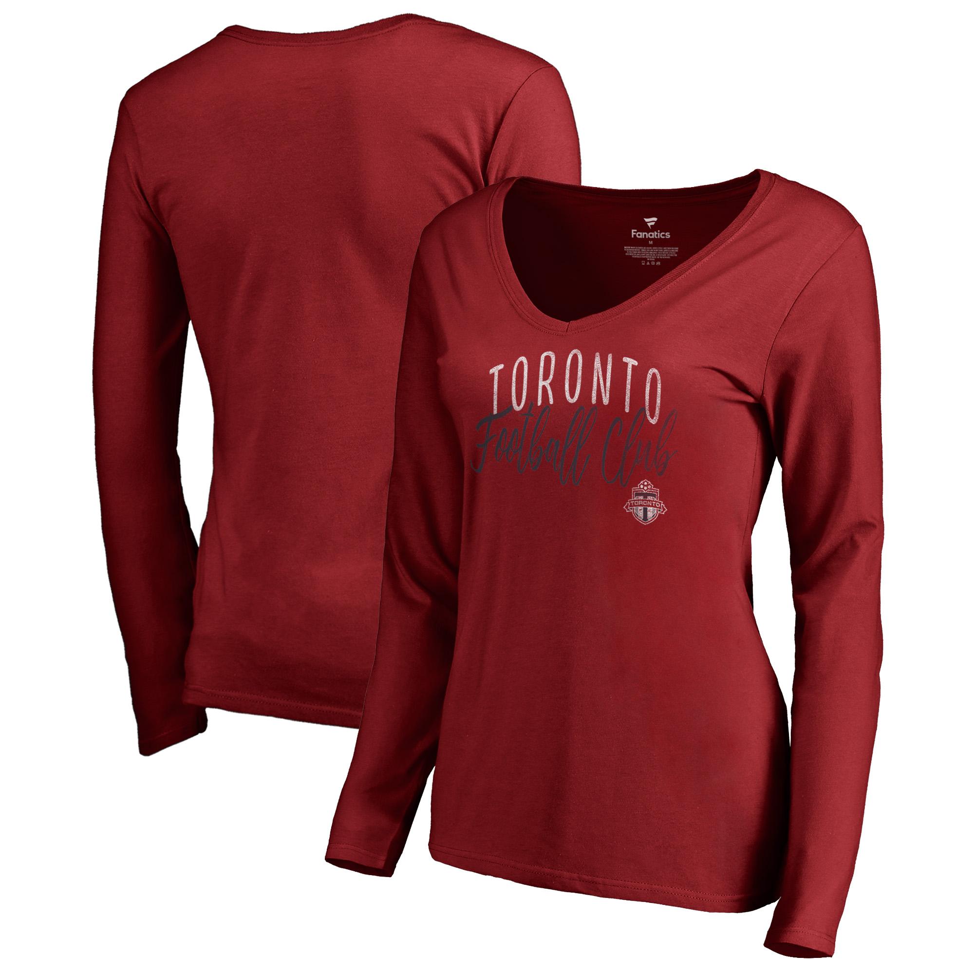 Toronto FC Fanatics Branded Women's Graceful V-Neck Long Sleeve T-Shirt - Red