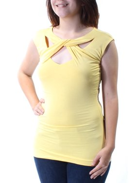 a9a72ae4e9f8a Product Image INC Womens Yellow Cut Out Sleeveless Jewel Neck Top Size  XS