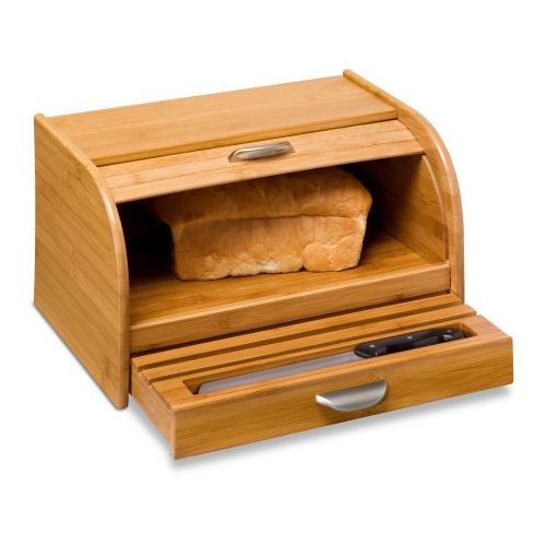 Honey Can Do Bamboo Bread Box with Roll-Top Cover and Cutting Board