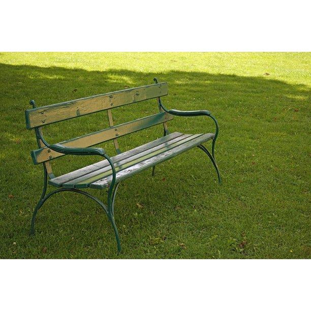 Break Meadow Sit Rest Park Bench Green Bank-24 Inch By 36 Inch