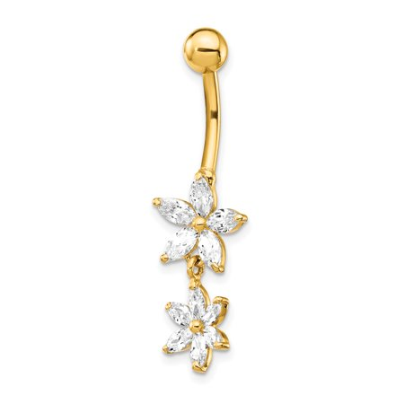 14k Yellow Gold Cubic Zirconia Cz 2 Flower Dangle Belly Band Ring Body Naval Fine Jewelry Gifts For Women For Her - image 6 of 6