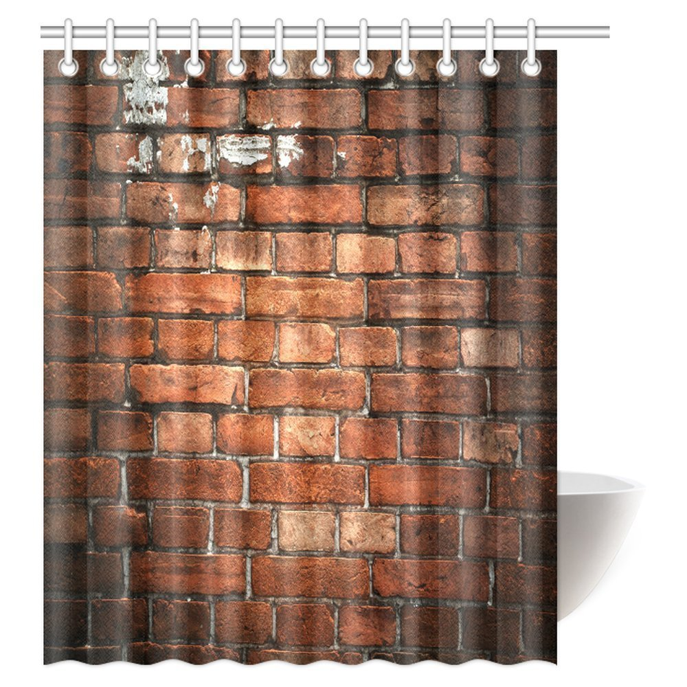 GCKG Rustic Home Decor Shower Curtain Ancient Retro Old Fashioned Uneven Red Brick Wall Fabric Bathroom Set With Hooks 60x72 Inches