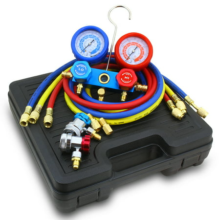 Stark AC Manifold Gauge Hose Set R134A, R12, R22 Quick Coupler Air  Conditioner Freon Charging with Carrying Case
