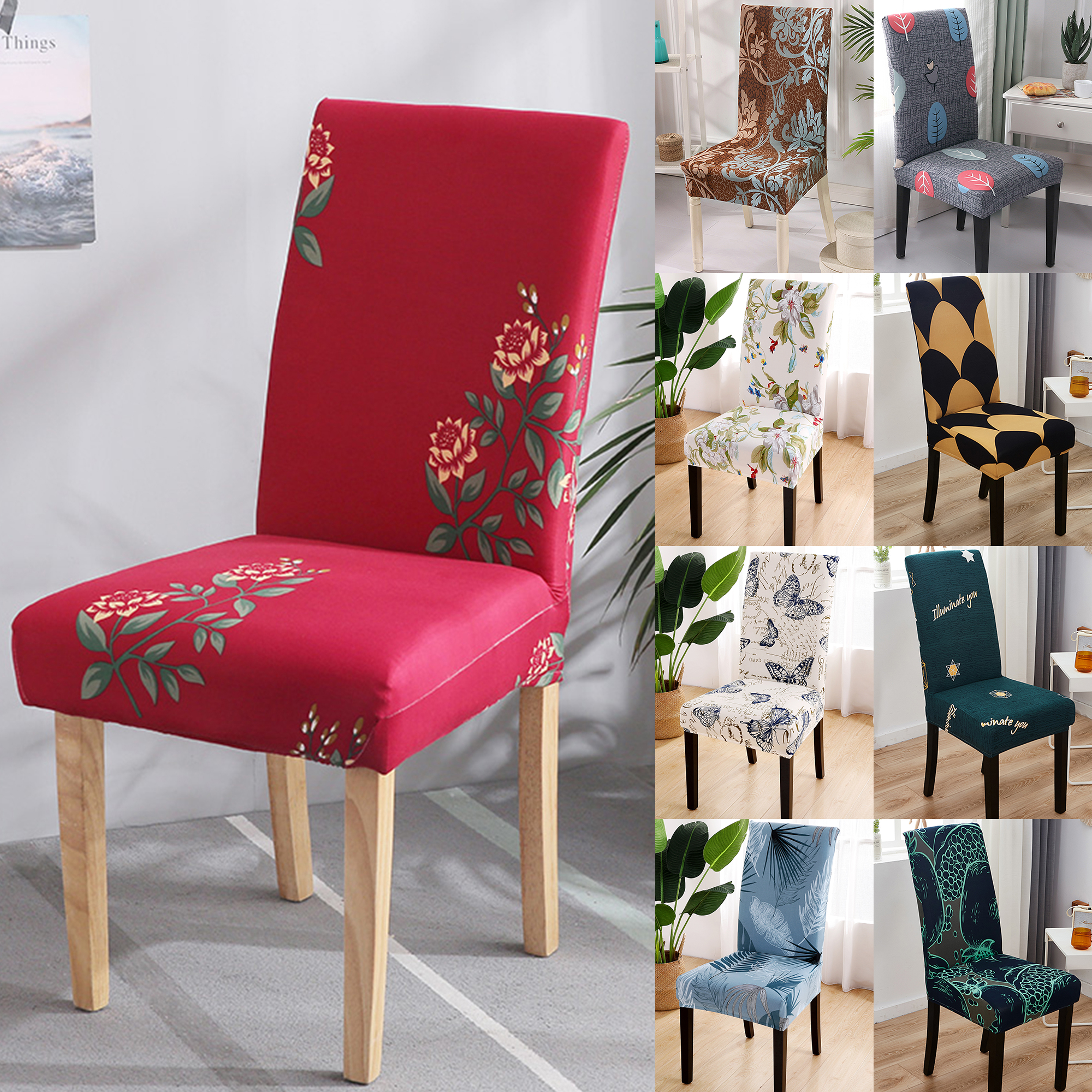 2//4//6//8Pcs Stretch Removable Dining Chair Cover Seat Chair Slipcover Protector