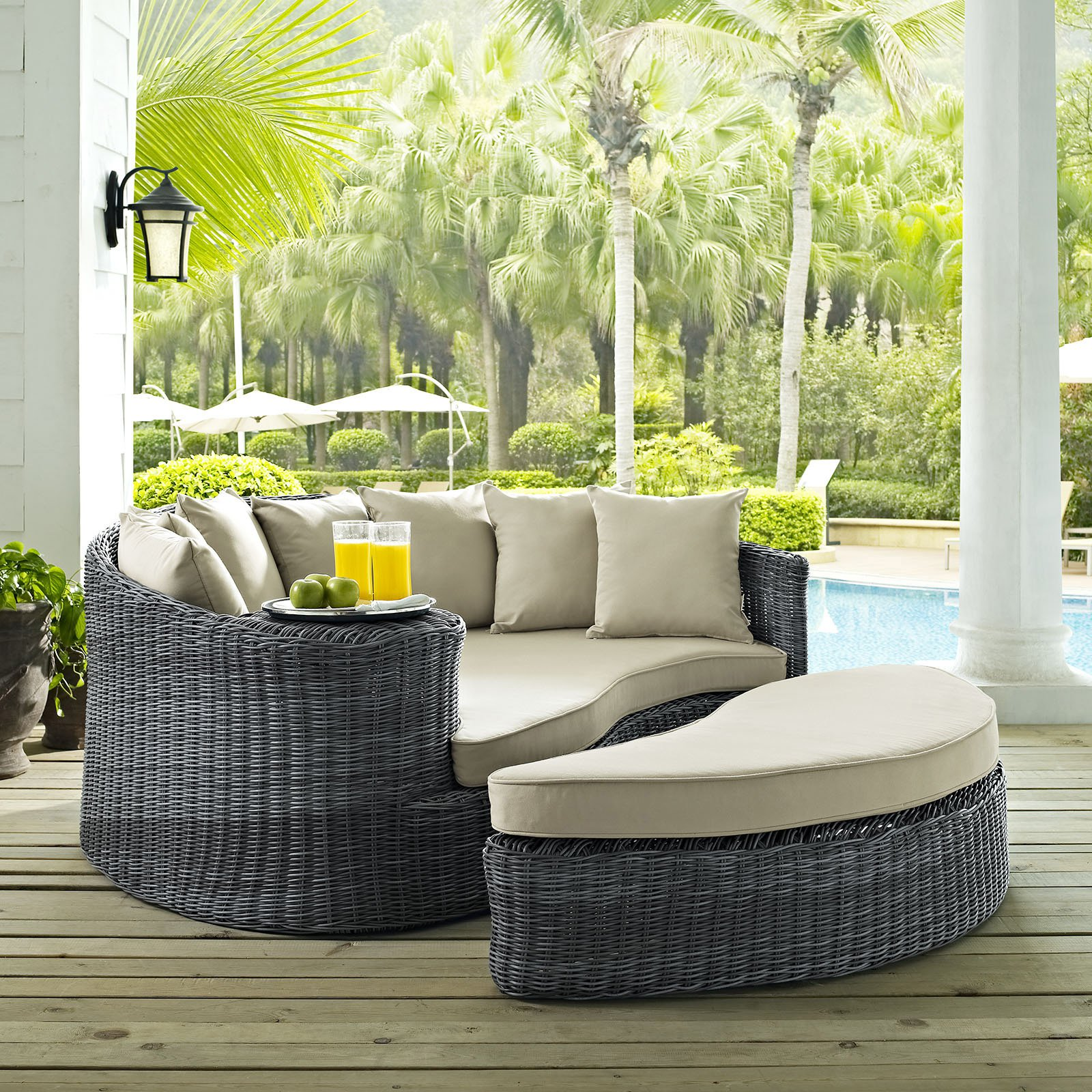 Modway Summon Outdoor Patio Sunbrella Daybed, Multiple Colors