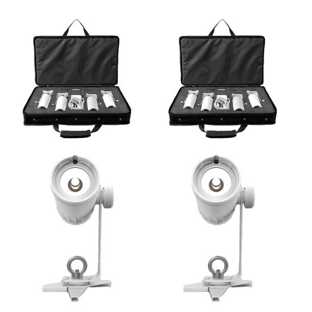 Chauvet DJ EZ Pin Battery Powered LED Spot Stage Lighting Unit, White (2 Pack)