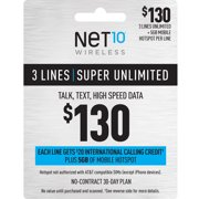 NET10 $130 Super Unlimited Family & Friends 30-Day Plan for 3 Lines w/ $20 Int'l Calling Credit + 5GB of Mobile Hotspot e-PIN Top Up (Email Delivery)
