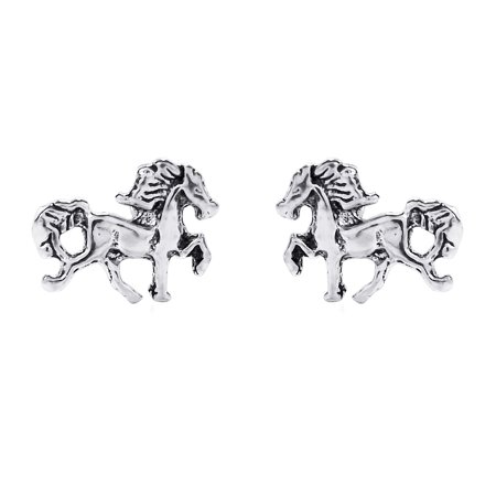 Dainty Prancing Pony Horse Stallion .925 Sterling Silver Stud Earrings