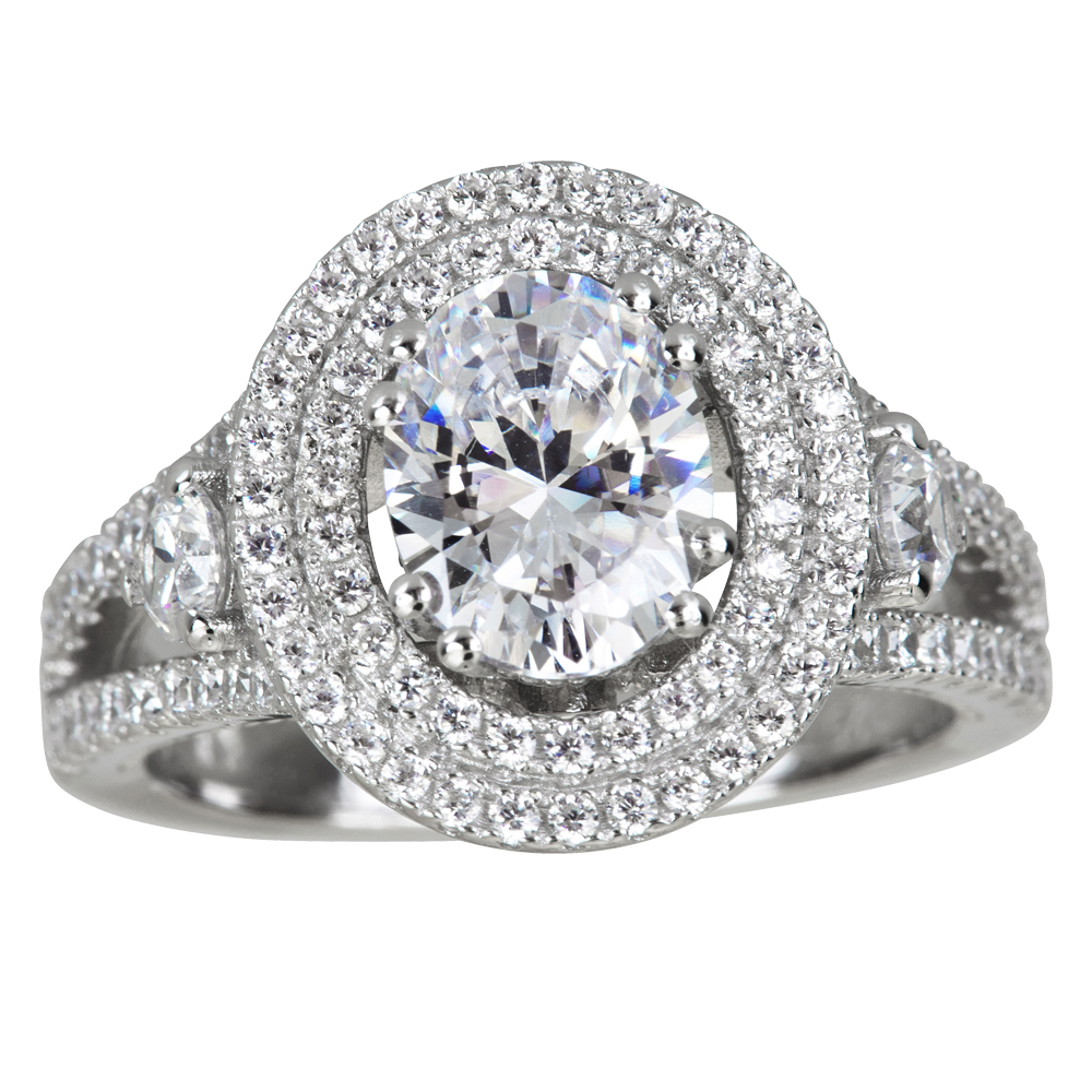 Decadence Sterling Silver mm Oval Dbl Halo Pave Cathedral...