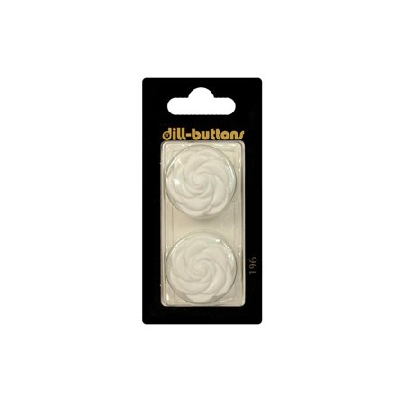 Dill Buttons 25mm 2pc Shank Flower White ()