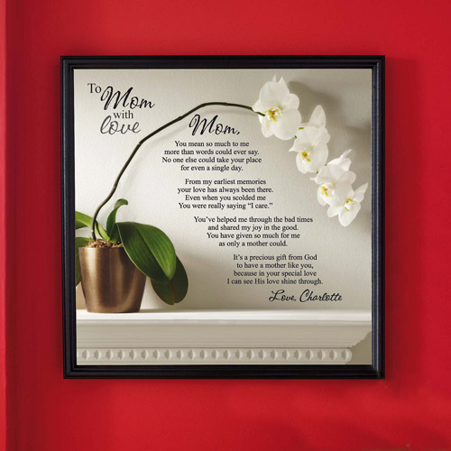 "Personalized ""To Mom with Love"", One Child, Canvas Framed Art, 16"" x 16"""