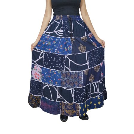 Mogul Women's Indian Peasant Patchwork Long Skirt Printed Hippy Chic Gypsy Bohemian Fashion Maxi Skirts](Peasant Skirt)