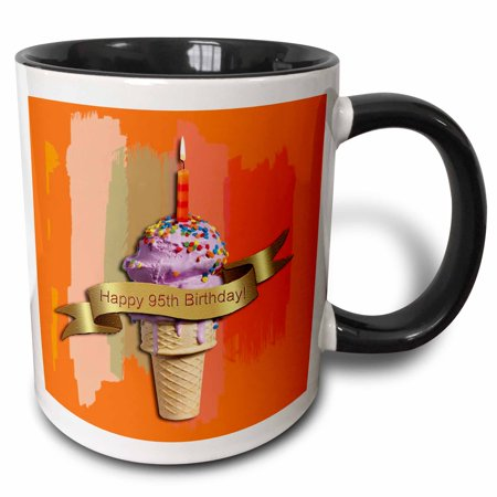3dRose Happy 95th Birthday, Strawberry Ice Cream Cone on Abstract, Orange, Two Tone Black Mug,