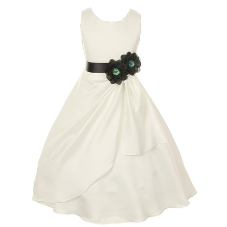 Big Girls Ivory Black Bridal Dull Satin Sequin Flowers Occasion Dress 12